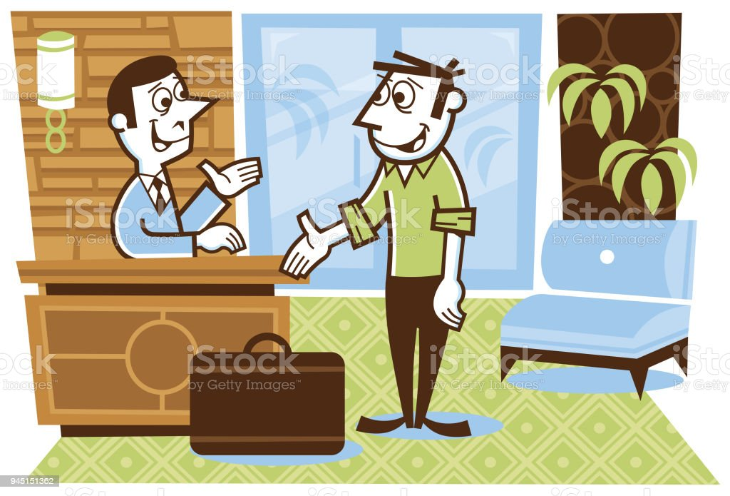Man checking-in to a hotel vector art illustration