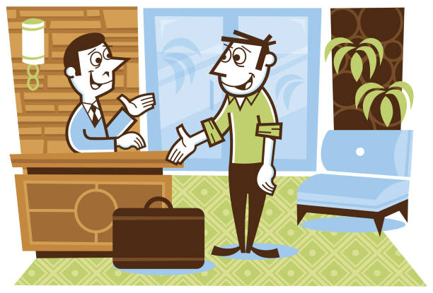 man checking-in to a hotel - peter bajohr stock illustrations