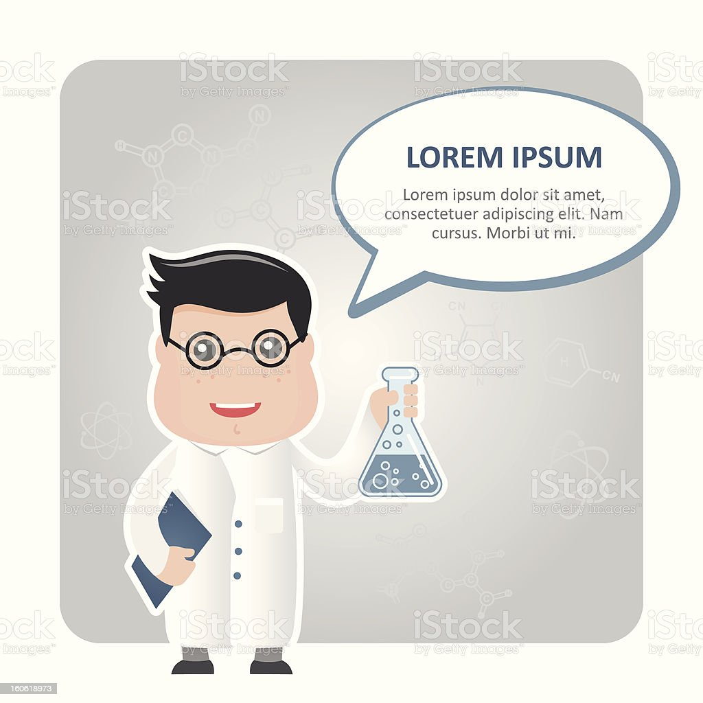 man chemist and ыpeech иubble royalty-free man chemist and ыpeech иubble stock vector art & more images of adult