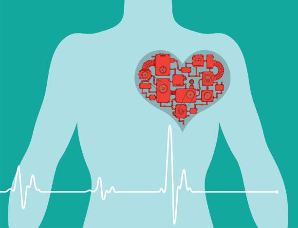 Man chest with heart machine vector art illustration