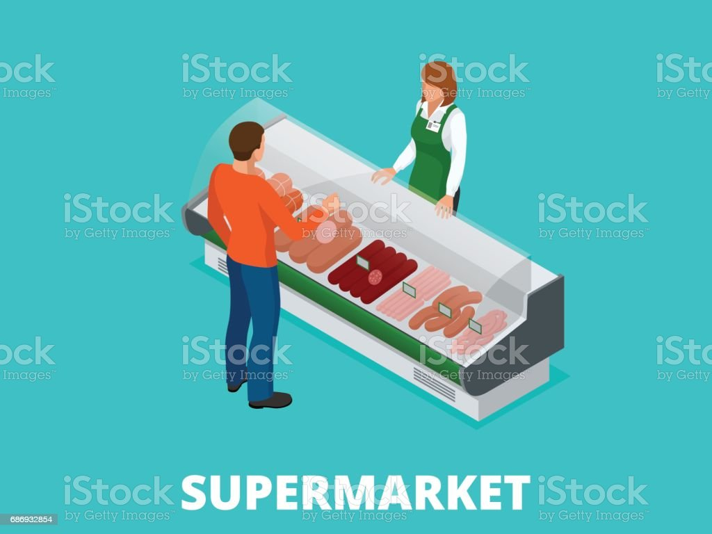 Man chooses sausages in the store. Sausages and fresh meat in shop showcase isometric vector illustration. Meat products on supermarket shelves. vector art illustration
