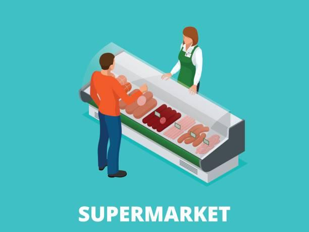 ilustrações, clipart, desenhos animados e ícones de homem escolhe salsichas na loja. salsichas e carne fresca na ilustração de isométrico vector de vitrine de loja. produtos de carne nas prateleiras dos supermercados. - delicatessen