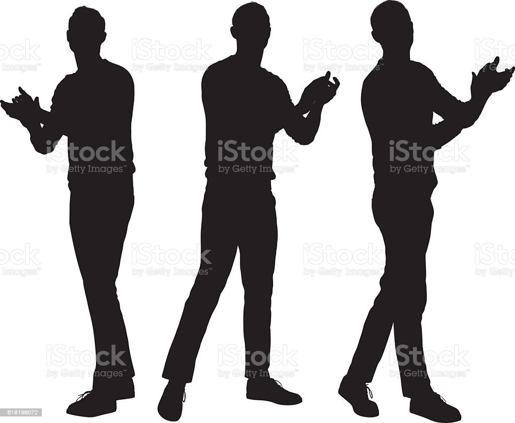 Man clapping vector art illustration