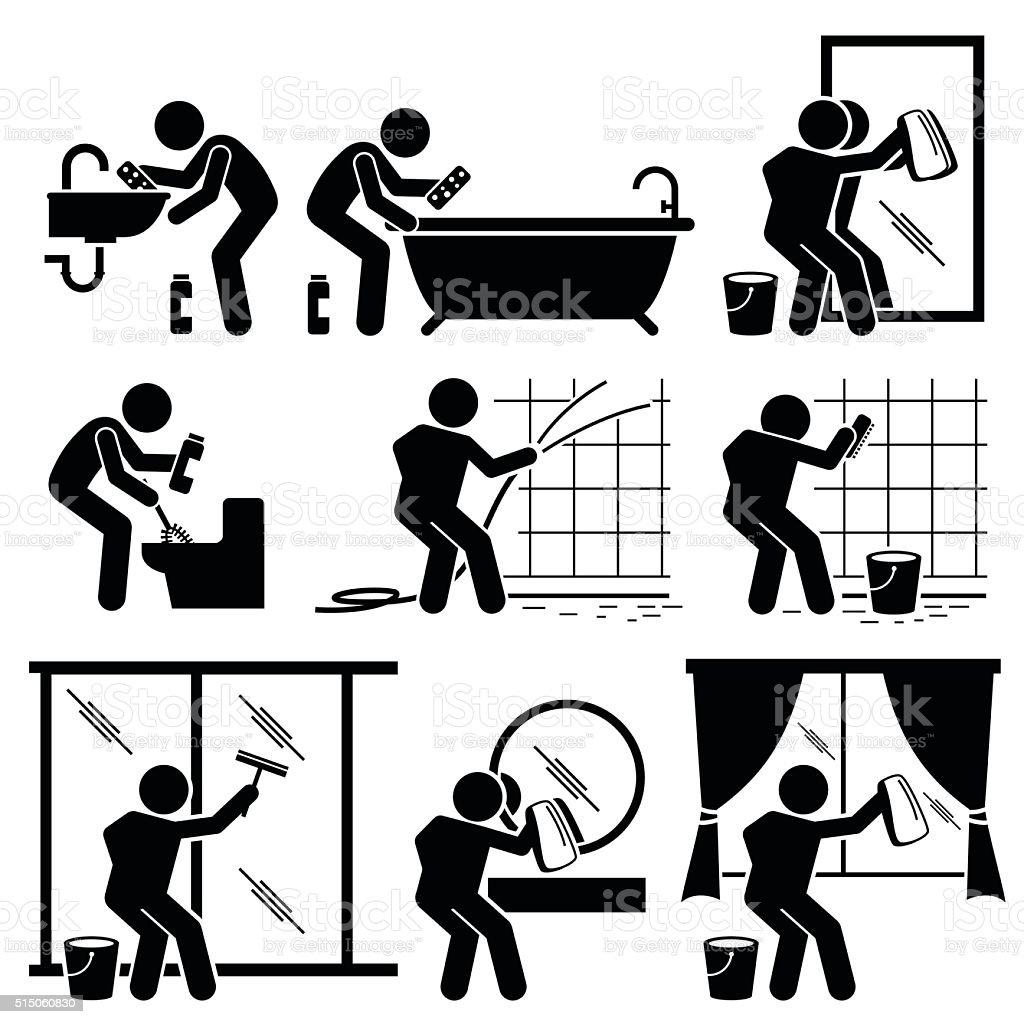 Man Cleaning Bathroom Toilet Windows and Mirror vector art illustration
