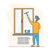 Man Cleaning Home Wiping Window with Wet Rag and Scraper. Male Character Household Activity, Housekeeping Process. Everyday Routine of Duties and Chores, Houseworking. Linear Vector Illustration
