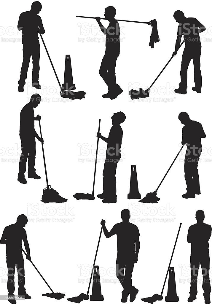 Man cleaning the floor vector art illustration