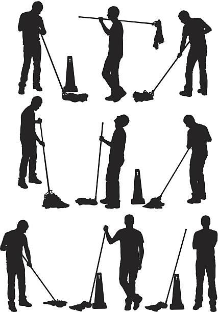Mann, die Reinigung der Etage – Vektorgrafik