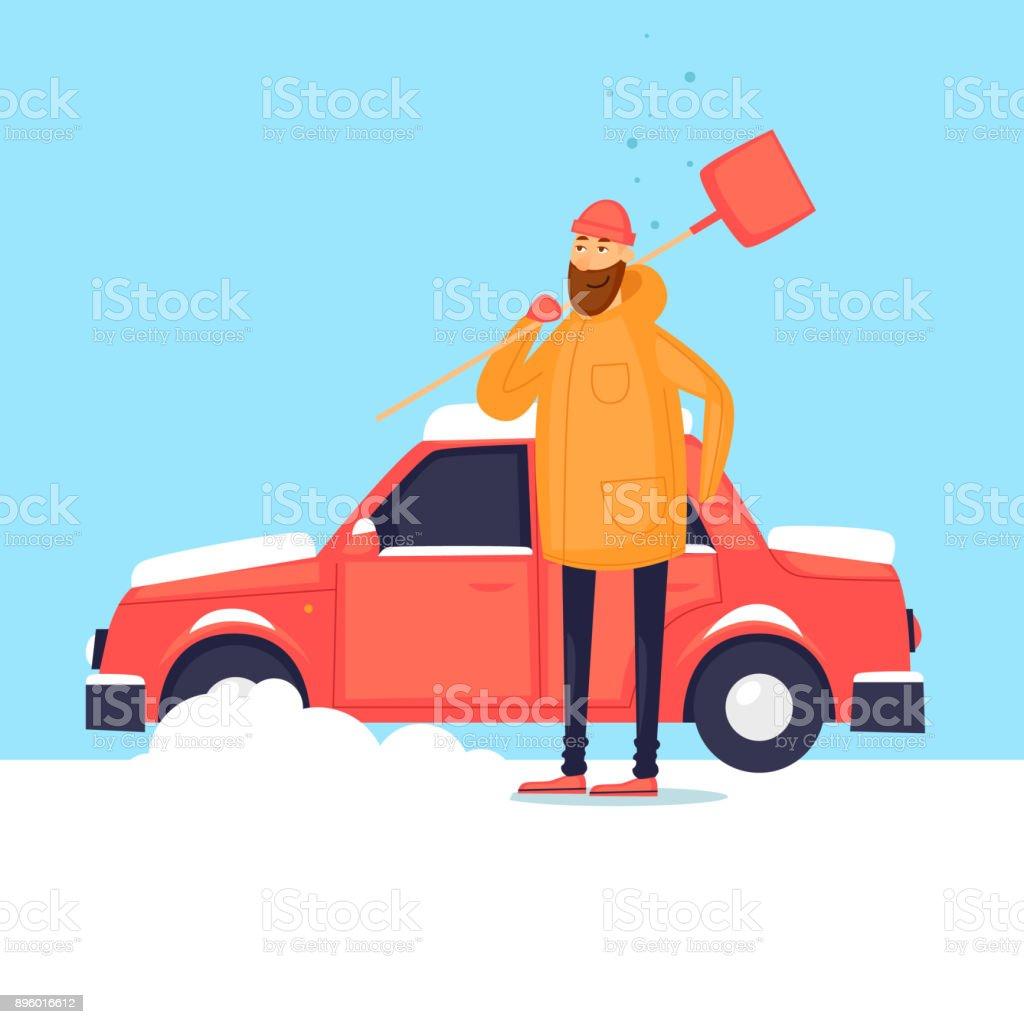 Man reinigt aus dem Schnee Auto. Winter. Flaches Design-Vektor-Illustration. – Vektorgrafik