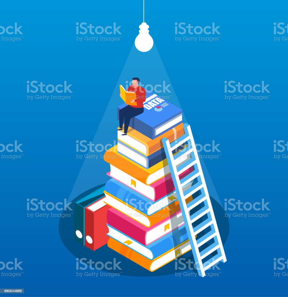 Man climbed to the top of the pile of books to find the light reading vector art illustration