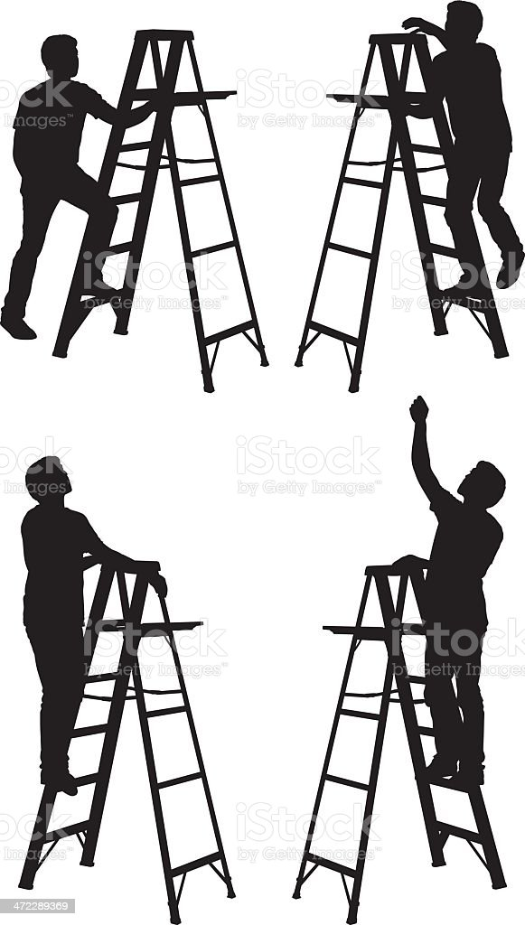 Man Climbing A Step Ladder Stock Vector Art Amp More Images