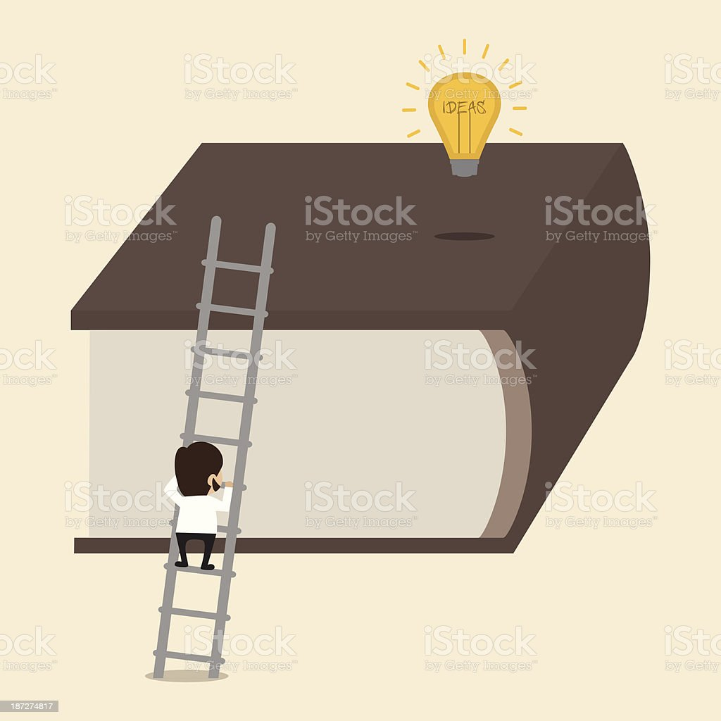 Man climbing big book to reach an Idea royalty-free stock vector art