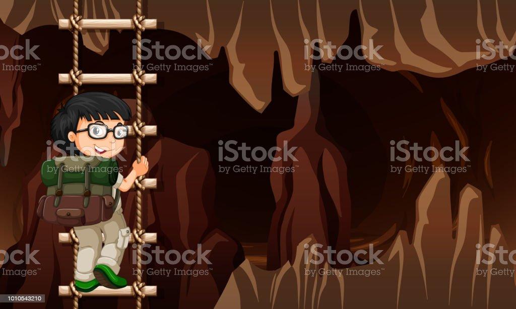 A man climbing ladder in cave vector art illustration