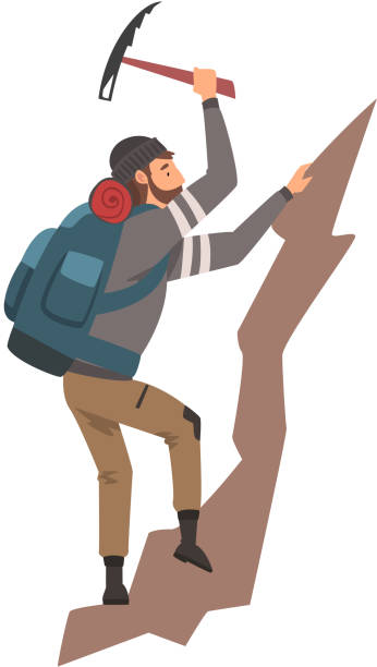 Man Climbing on Rock Mountain with Equipment Vector Illustration Man Climbing on Rock Mountain with Equipment Vector Illustration on White Background. mountain climbing stock illustrations