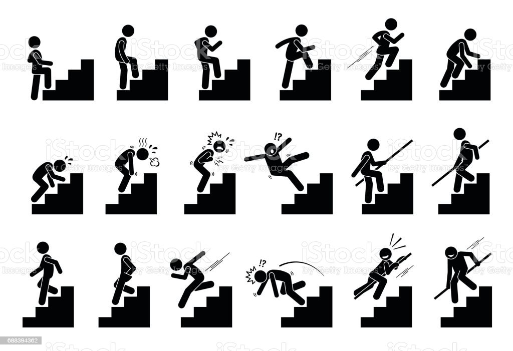 Man climbing Staircase or Stairs Pictogram. Cliparts depict various actions of a person with stairs. Activity stock vector