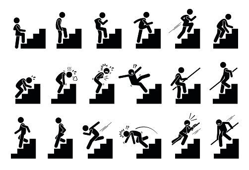 Man Climbing Staircase Or Stairs Pictogram Stock Illustration - Download Image Now