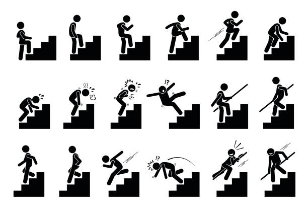 illustrazioni stock, clip art, cartoni animati e icone di tendenza di man climbing staircase or stairs pictogram. - uomo stanco