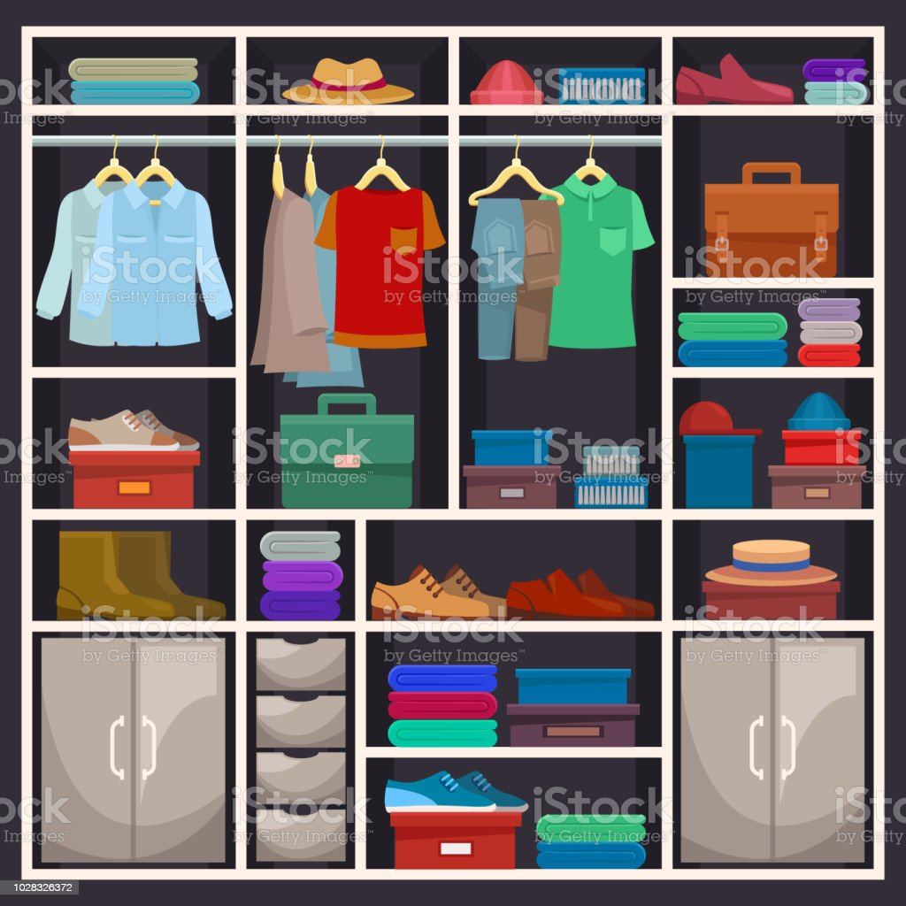 Man Closet Or Male Wardrobe With Cloth Stock Vector Art U0026 More Images Of  Adult 1028326372 | IStock
