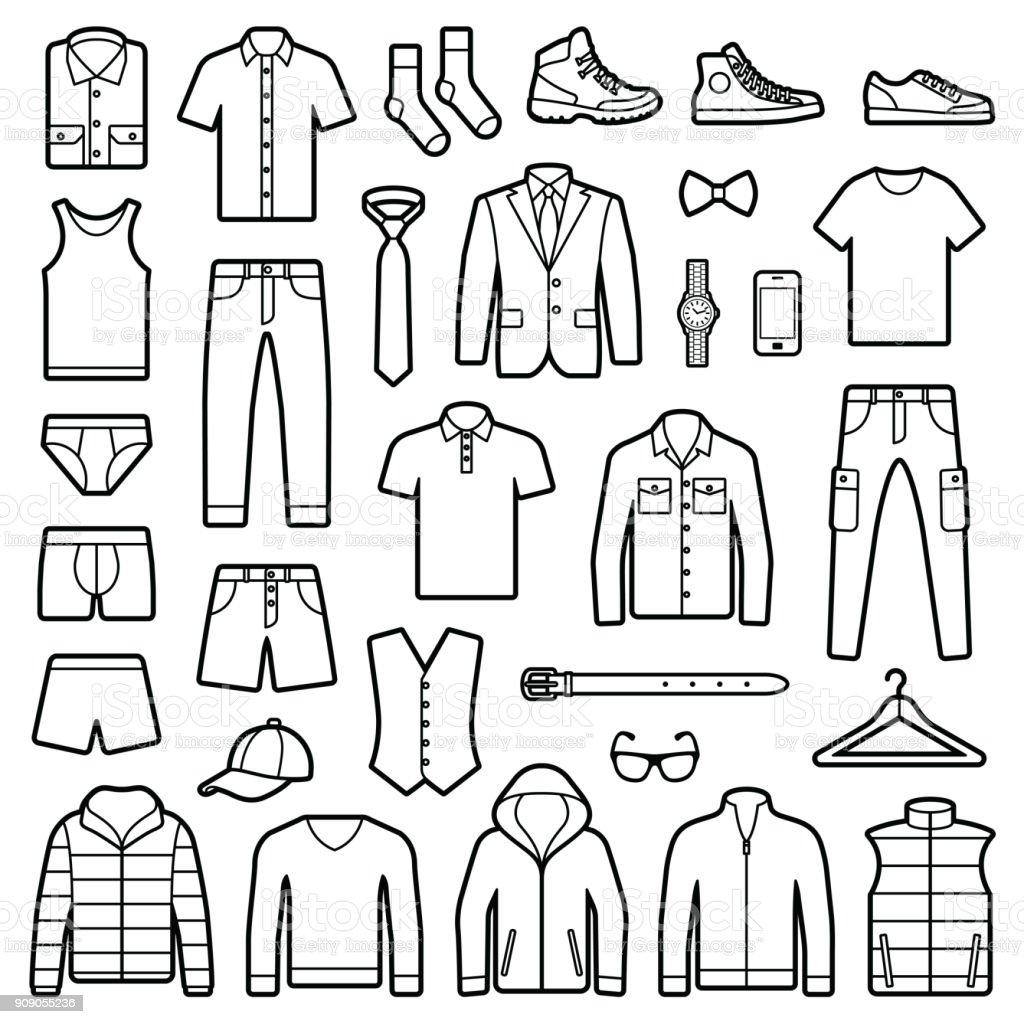 Accesorios y ropa de hombre - ilustración de arte vectorial
