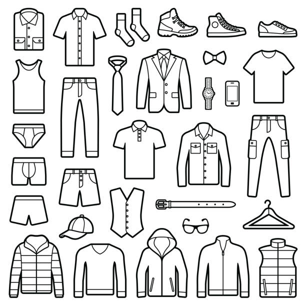man clothes and accessories - shoes fashion stock illustrations, clip art, cartoons, & icons