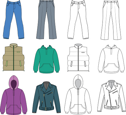 Man clothes colored autumn collection vector art illustration