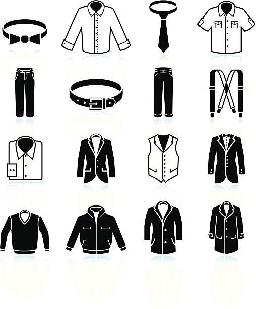 man clothing and menswear black & white vector icon set - mens fashion stock illustrations, clip art, cartoons, & icons