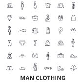 Man clothing, clothes, fashion, wear, shoe, tie, suit, shirt line icons. Editable strokes. Flat design vector illustration symbol concept. Linear signs isolated