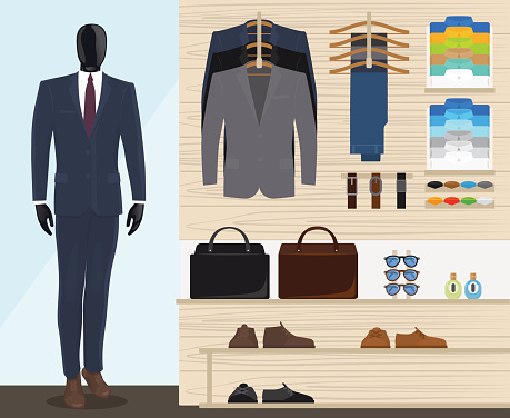 Men's fashion stock illustrations
