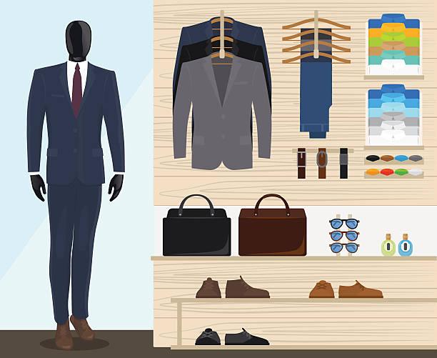 man clothing store - mens fashion stock illustrations, clip art, cartoons, & icons