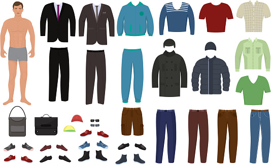 Man clothing vector cartoon boy character dress up clothes with