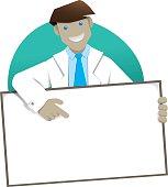 Man coat, doctor or pharmacist holding plate