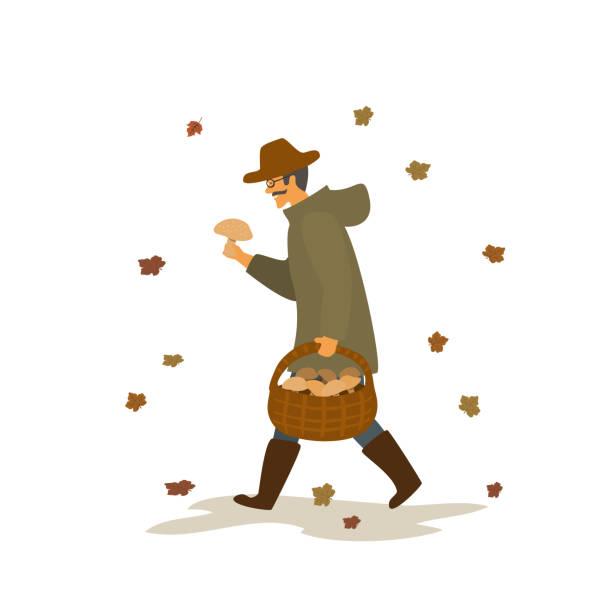 bildbanksillustrationer, clip art samt tecknat material och ikoner med man samla svamp, promenader med korg under fallande hösten lämnar vektor illustration scen - höst plocka svamp