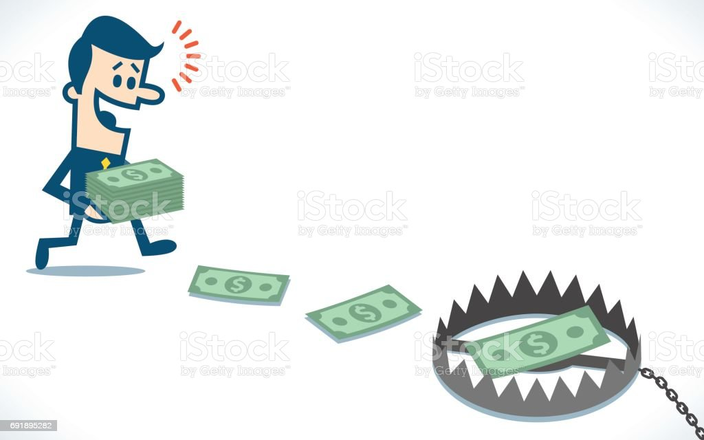 man collects the money from the floor and crawling in a trap vector art illustration