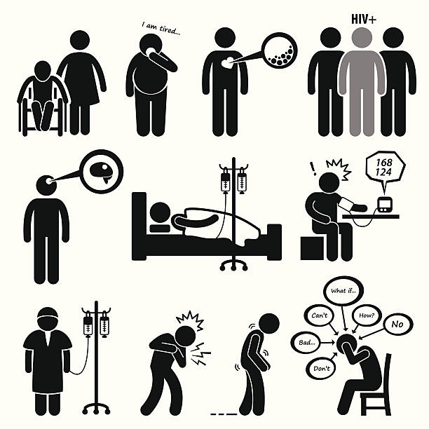 ilustrações, clipart, desenhos animados e ícones de homem doenças comuns e de doenças cliparts - hiv