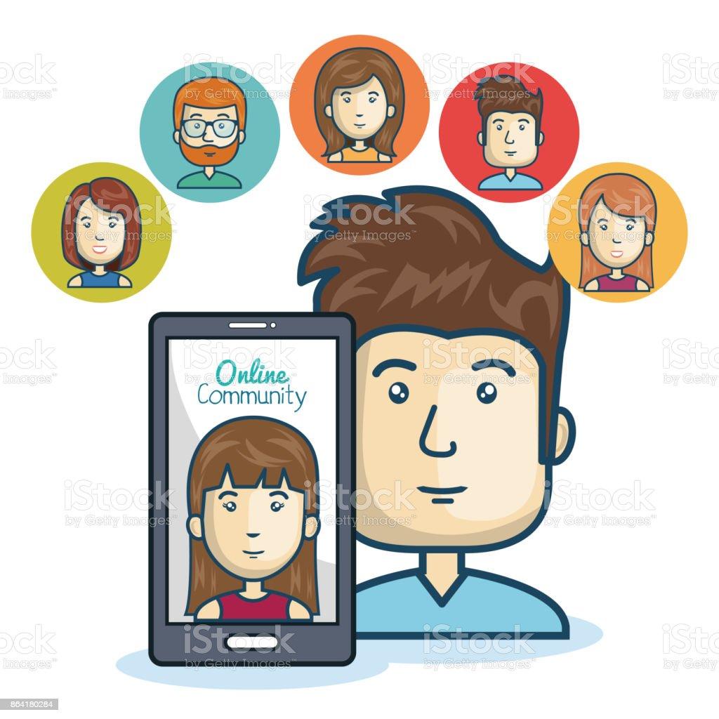 man community online smartphone design royalty-free man community online smartphone design stock vector art & more images of adult