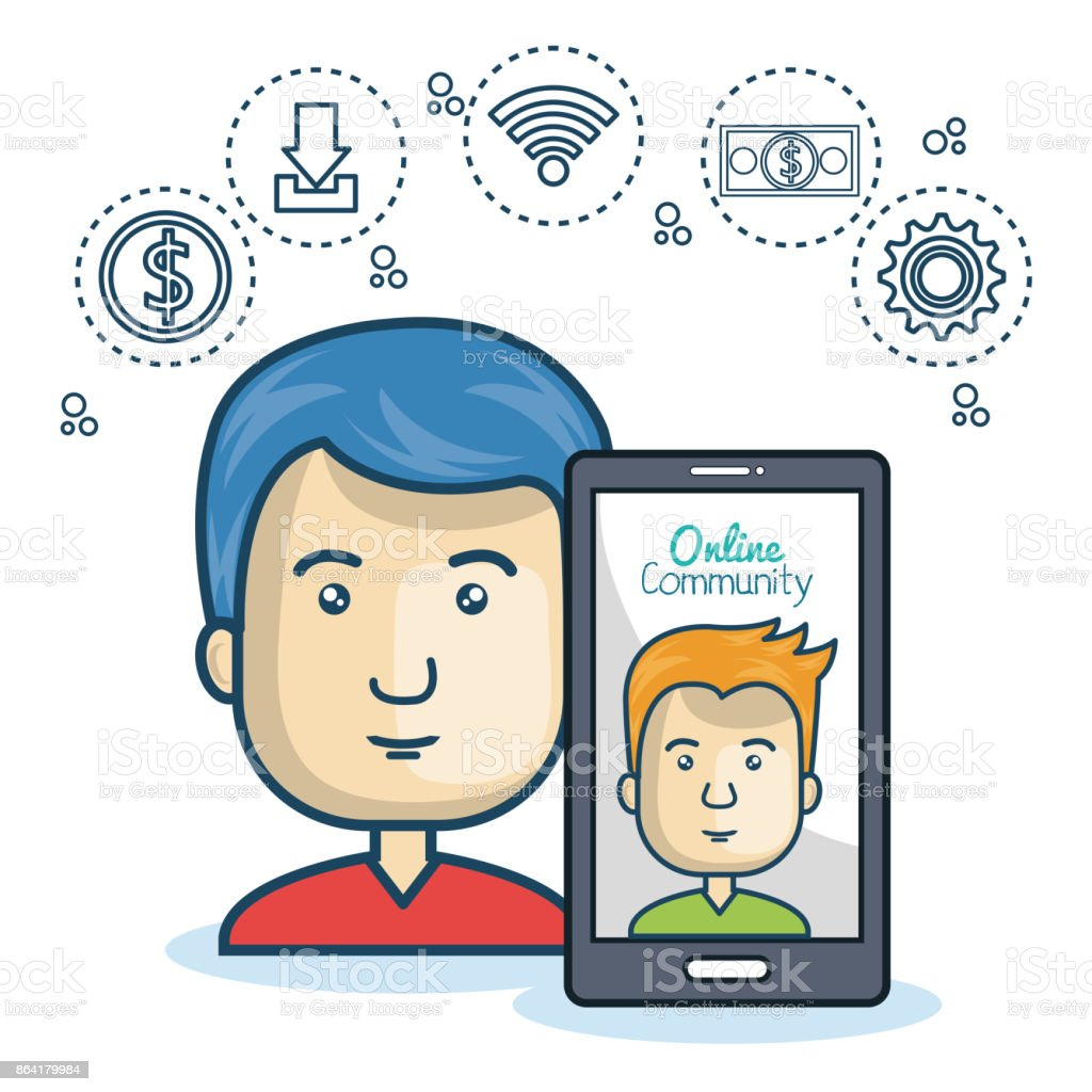 man community online smartphone with app media design royalty-free man community online smartphone with app media design stock vector art & more images of adult