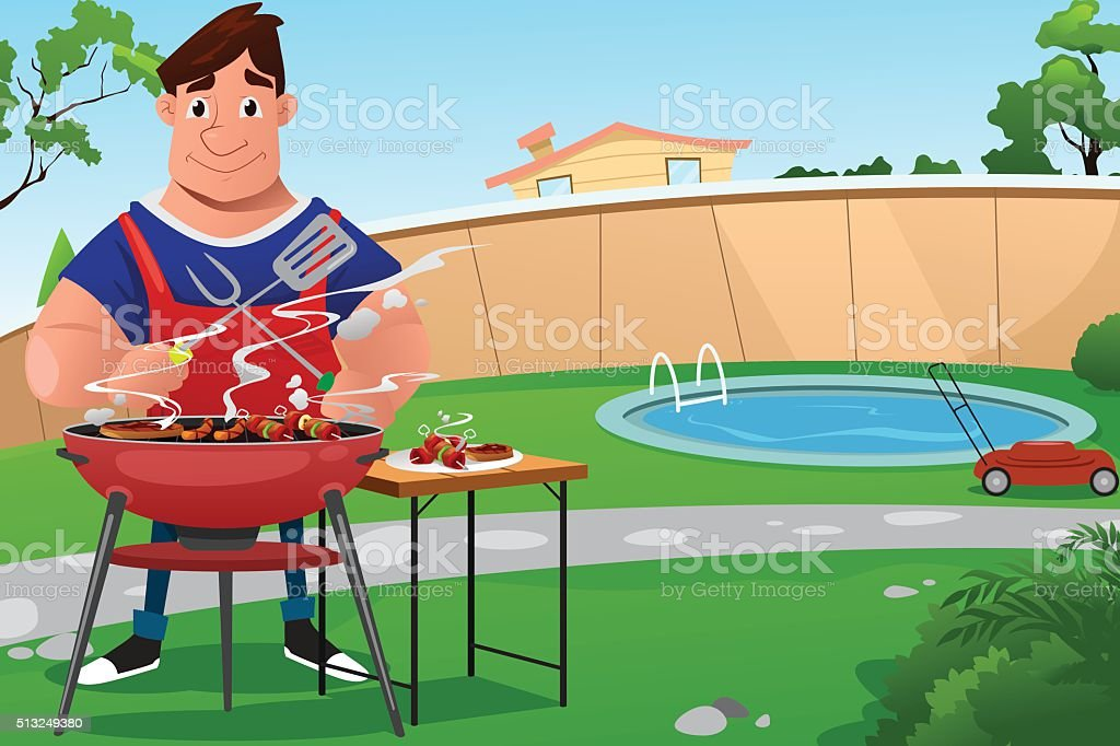 Man Cooking BBQ vector art illustration