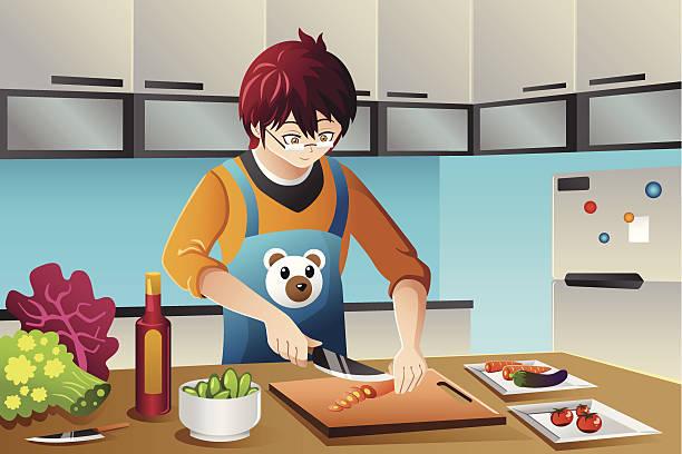 mann kochen - hausmannskost stock-grafiken, -clipart, -cartoons und -symbole