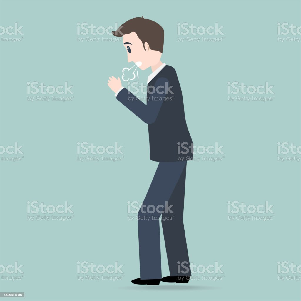 Man Coughing icon. Medical concept illustration vector art illustration