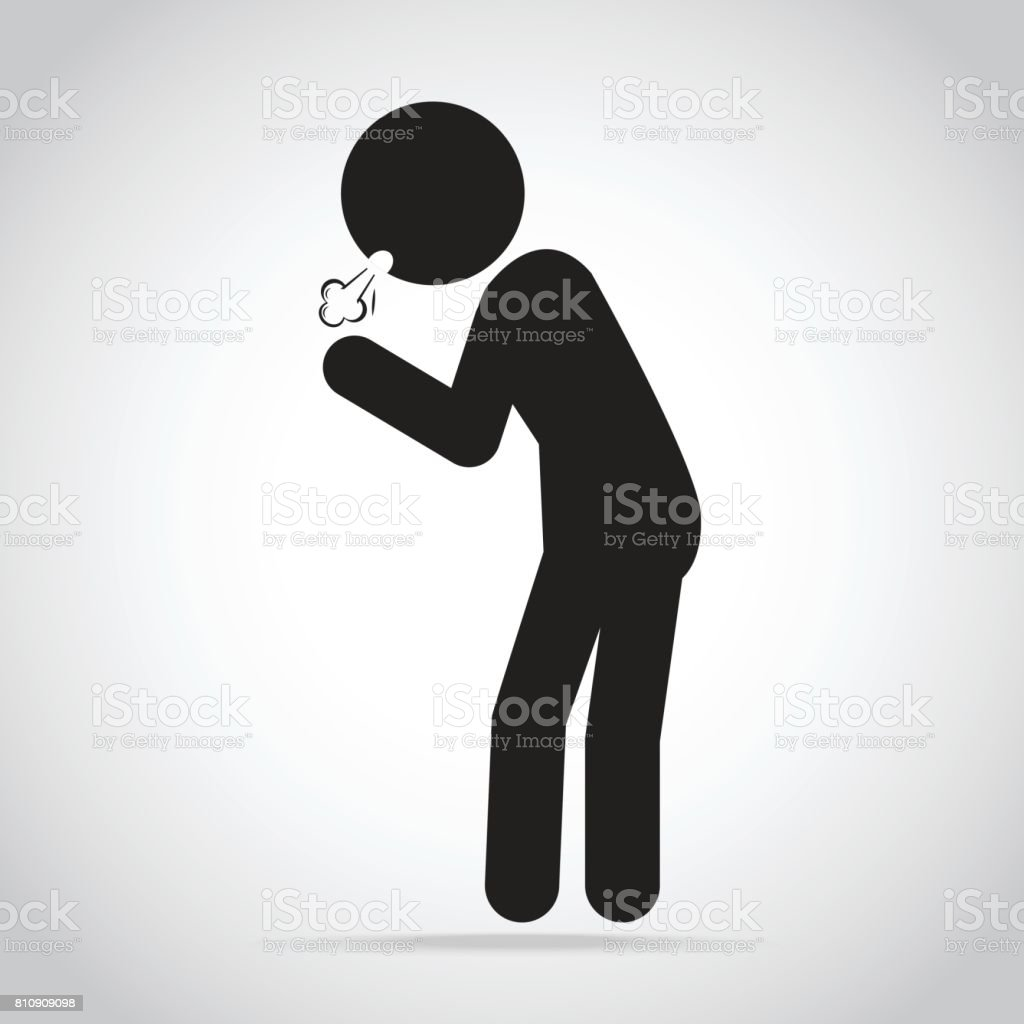 Man Coughing icon. Medical concept vector art illustration