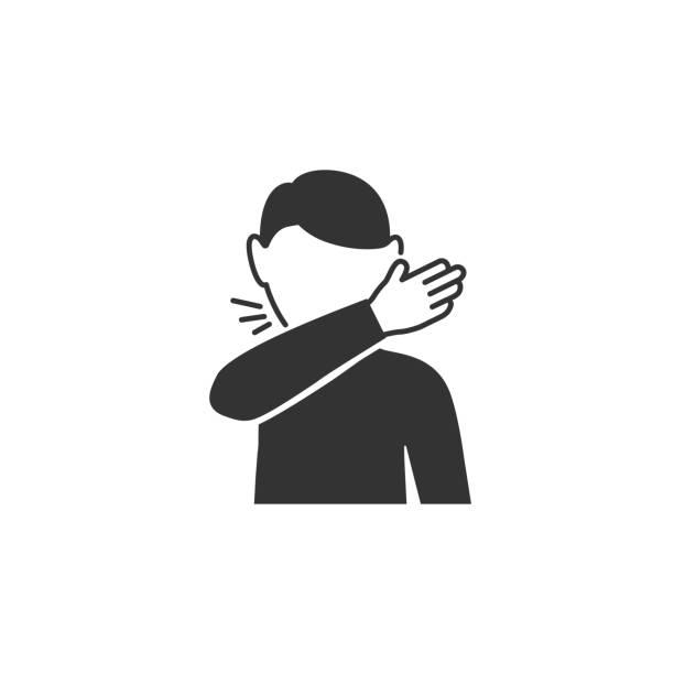 bildbanksillustrationer, clip art samt tecknat material och ikoner med man hostar vid böjen av armbågen ikonen i enkel design. vektorillustration - sneezing