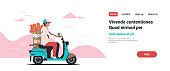 man courier riding scooter with bouquet international women day flower delivery concept isolated flat copy space horizontal vector illustration