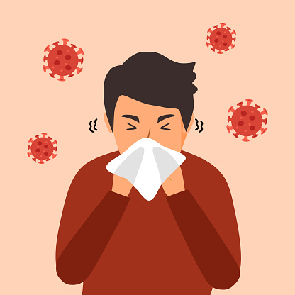 A man cover his sneeze with handkerchief vector illustration. Sneezing man in red t-shirt with virus cells around. Covid-19 coronavirus disease symptom. Season allergy.