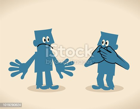 Blue Little Guy Characters Full Length Vector art illustration.Copy Space. Man covering mouth by two hands, keep one's mouth shut.