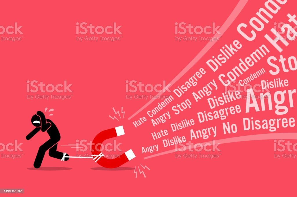 A man creating a lot of hates and dislikes on his social media. royalty-free a man creating a lot of hates and dislikes on his social media stock vector art & more images of adult