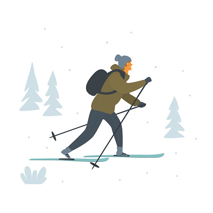 man cross country skiing isolated vector illustration scene