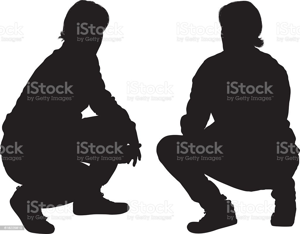 Man crouching vector art illustration