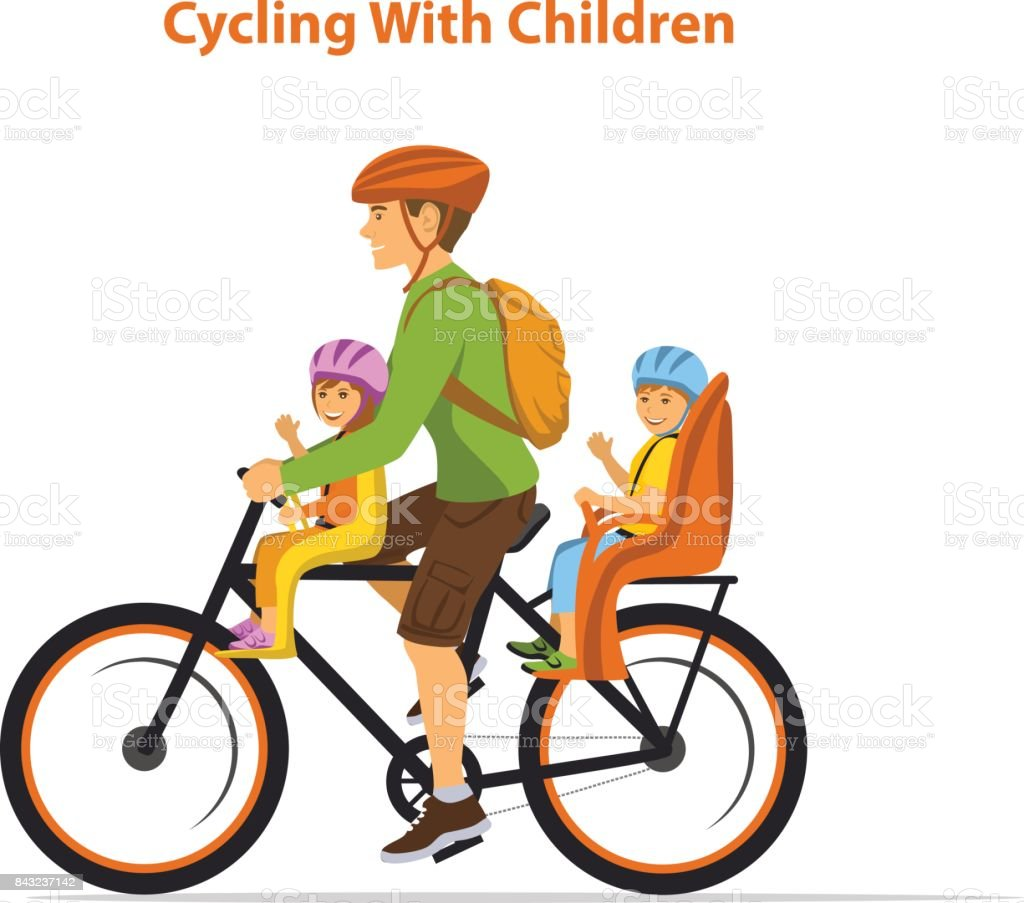 Man cycling with his children, boy and girl. Kids sitting on bike safe seats in front and back vector art illustration