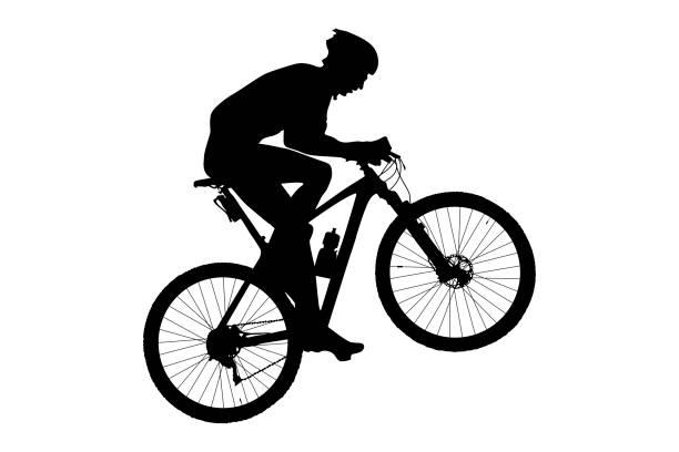 man cyclist mountain biker man cyclist mountain biker riding uphill black silhouette mountain biking stock illustrations