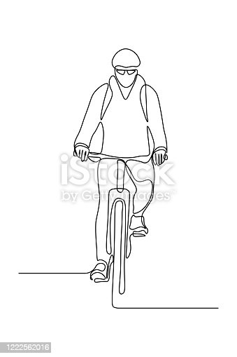 Cyclist in continuous line art drawing style. Man riding bicycle black linear sketch isolated on white background. Vector illustration