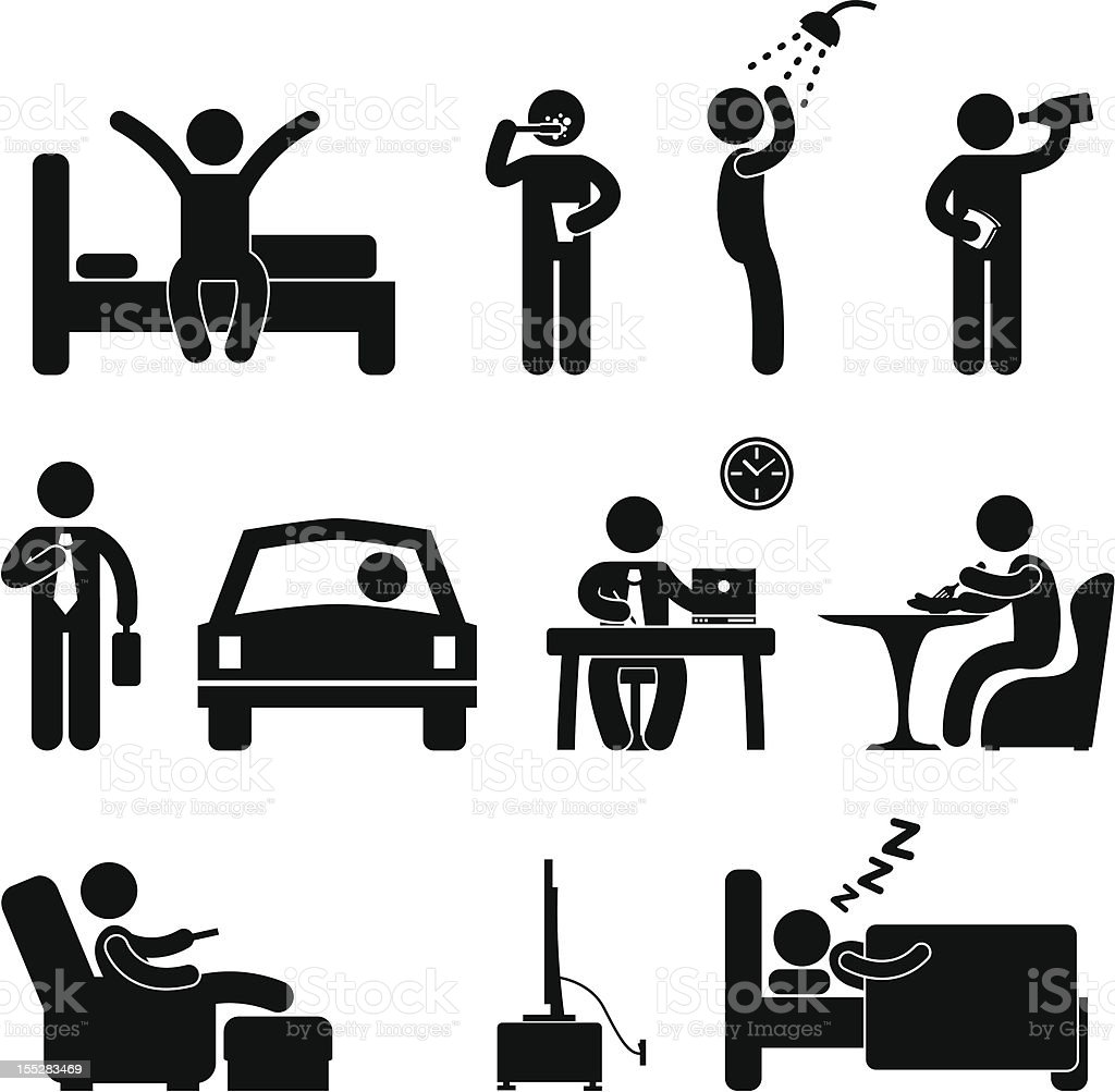 Man Daily Routine People Pictogram royalty-free stock vector art